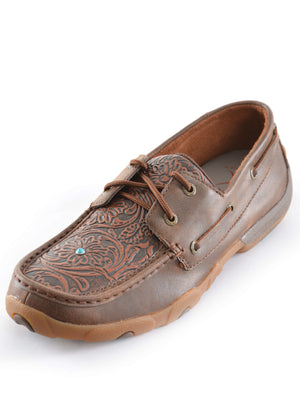 Women's Twisted X Tooled Casual Driving Moc Low Lace Up TCWDM0005