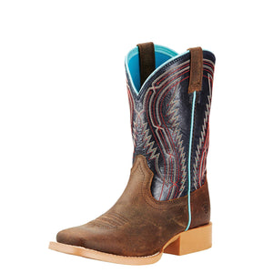Ariat Chute Boss Kid's Western Boot Brown and Old Blue - Diamond K Country