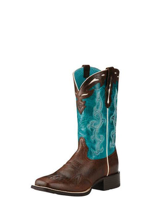 Women's Ariat Sidekick Western Boots Chocolate Chip and Turquoise