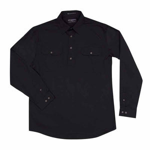 Just Country Cameron 1/2 Button Shirt Men's Black - Diamond K Country