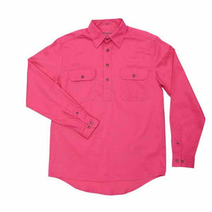 Just Country Cameron 1/2 Button Shirt Men's Hot Pink - Diamond K Country