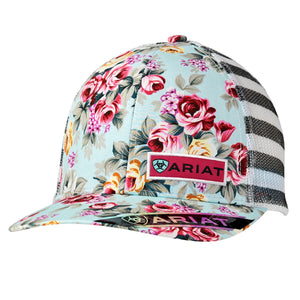 Ariat Floral Logo Mesh Snap Closure Cap 1515197