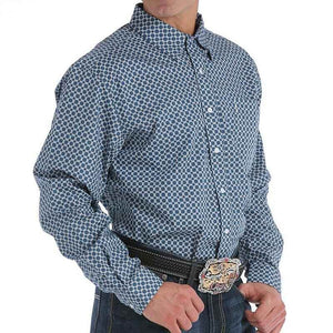 Men's Cinch Blue Print Shirt - Diamond K Country