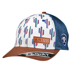Ariat Rainbow Cactus  Logo with Blue Mesh Snap Closure Cap