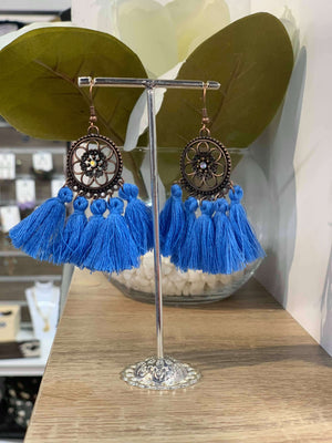 Blue - Flower Tassel Earring