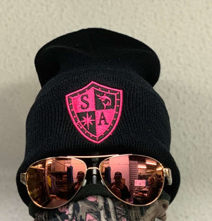 Beanie - Black with Pink Shield