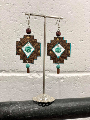 Cactus Lace Leather- Aztec Earrings - Turquoise Rose /  Brown