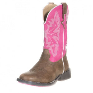 The Kid's Roper Chris Square Toe Boot in Pink