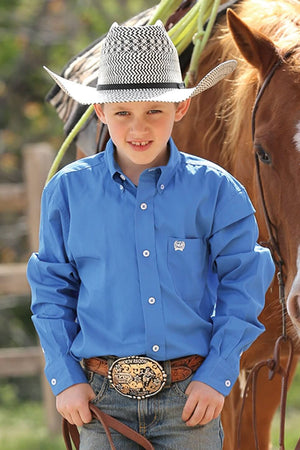 Boy's Cinch Solid Blue Shirt