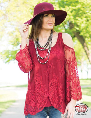 Women's Cowgirl Tuff Red Lace Cold Shoulder Shirt