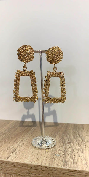 DKC Gold Geometric Drop Earrings