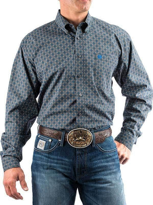 Men's Cinch Grey And Royal Geometric Shirt - Diamond K Country