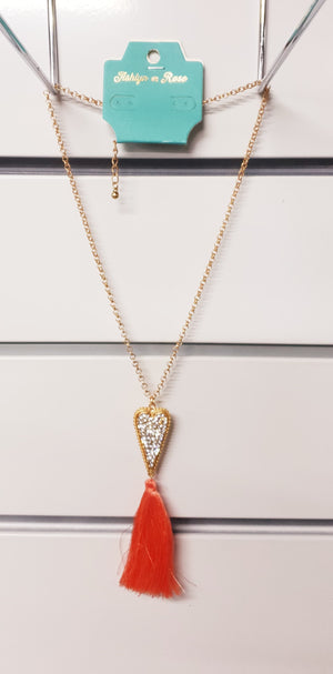 Lasting Love Coral Tassel and Crystal Heart Necklace