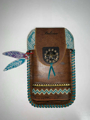 Cactus Lace Leather - Phone Pouch