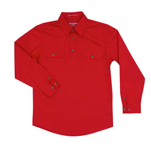 Boy's Just Country Lachlan Chilli 1/2 Button Shirt