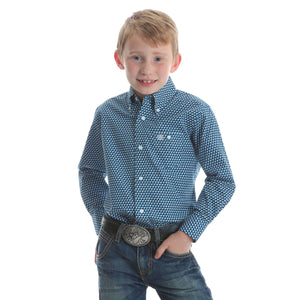Boy's Wrangler Classic Printed L/S Shirt Teal