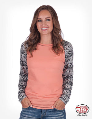 Women's Cowgirl Tuff - Coral Tee With Aztec Printed L/S Shirt
