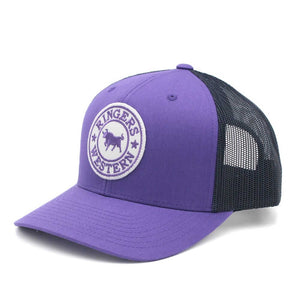 Ringers Western - Purple & Navy Signature Bull Trucker with Purple & White Patch 171120006-PUNV