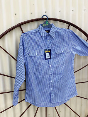 Men's Bisley Blue, White & Black Check Shirt BS7872