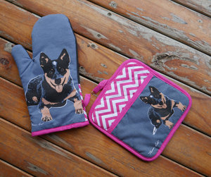 Thomas Cook Oven Mitt & Pot Holder Set- Blue Heeler
