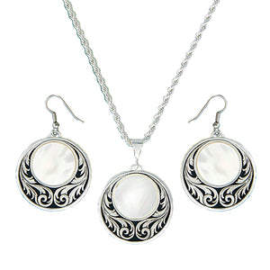 Women's Montana Silver Prairie Under Full Moon Necklace and Earring Jewellery Set