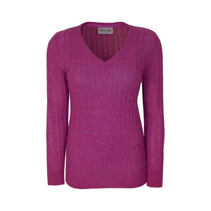Women's Thomas Cook  Cable Knit V-Neck Jumper Purple