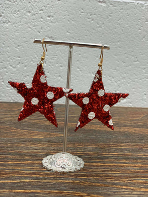 Christmas Red Glitter Star Earrings