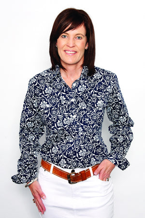 Women's Just Country Georgie 1/2 Button Navy & WhiteFloral Shirt WWLS1916