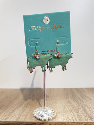 Turquoise Brushed Cow Earrings