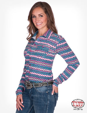 Women's Cowgirl Tuff - Colourful Chevron Sport Jersey Pullover Button-Up