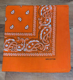 Dark Orange Paisley Design Bandana - 100% Cotton