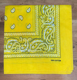 Bright Yellow Paisley Design Bandana - 100% Cotton