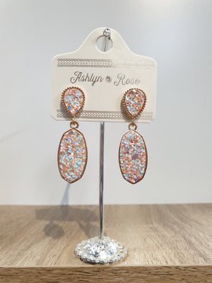 Pink Glitter Sparkling and Sweet Drop Earrings