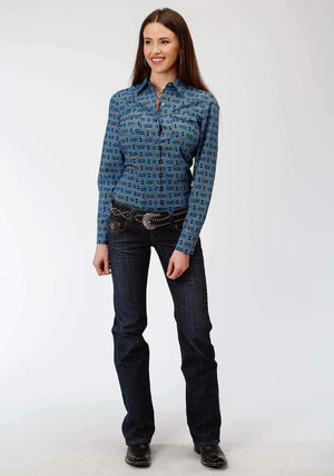 Women's Roper West Made Blue Aztec Long Sleeve Shirt