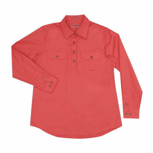 Just Country Jahna 1/2 Button Shirt Women's Hot Coral - Diamond K Country