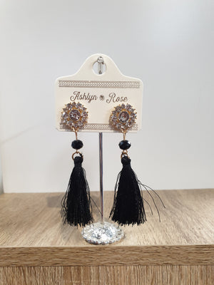 Crystal Drop Earrings with Tassel - Black