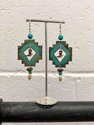 Cactus Lace Leather- Aztec Earrings - Turquoise / Boot