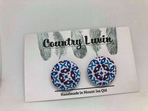 Country Luvin' 23mm  Purple & Blue Pattern Earring #14