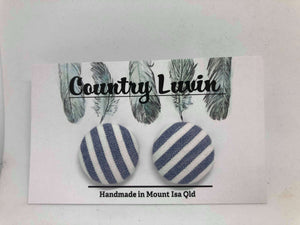 Country Luvin' 23mm Blue & White Stripe Earring #7