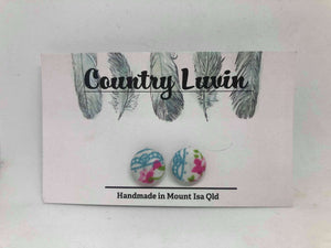 Country Luvin' 12mm Pink Floral/ Blue Lace Earring #9