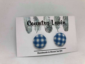 Country Luvin' 19mm Blue Check Earring #1