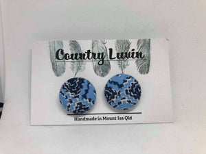 Country Luvin' 23mm Blue Aztec Earring #11