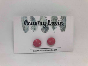 Country Luvin' 12mm Pink Polka Dot Earring #4