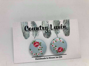 Country Luvin' 23mm Blue Floral Earring #4