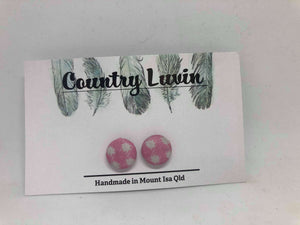 Country Luvin' 12mm Pink Check Earring #2