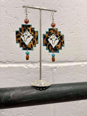 Cactus Lace Leather- Aztec Earrings - Bull / Leopard