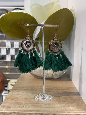 Dark Green - Flower Tassel Earring