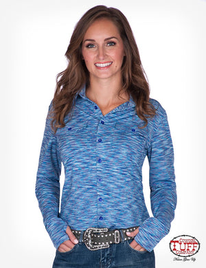 Women's Cowgirl Tuff - Cosmic Blue Stripe Sport Jersey Pullover Button-Up