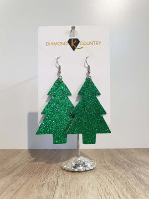 Christmas Tree Green Glitter Drop Earrings