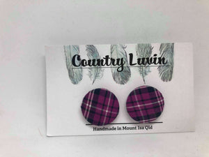 Country Luvin' 23mm Purple Check Earring #5